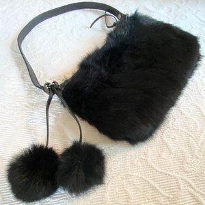 Black Rabbit Fur + Leather Trim Bag